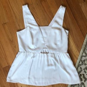 Zara White Peplum Blouse Tank with Cutout
